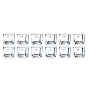12er SET Teelichtgläser, Windlichter CUBE H. 8cm 8x8cm Glas eckig Sandra Rich