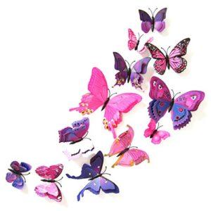 Oblique Unique 3D Schmetterlinge Doppelflügel Effekt Blumen 12er Set Dekoration Wandtattoo