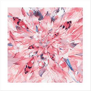 Asia in The Mix – Koi Art Kunstdruck mit asiatischen Blumen Koi Fischen – Fine Art Print – Poster ohne Rahmen – 50×50 cm Limitierte Edition Galeriequalität Geschenkidee