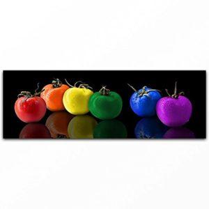 BILDERFABRIK – Wand-Bild bunte Tomaten in verschiedenen Größen wählbar als Kunstdruck auf Leinwand und Holzkeilrahmen I Moderne Drucktechnik für ein detailreiches Erlebnis