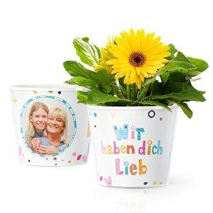 Blumentopf (ø16cm) mit Rahmen für zwei Fotos (10x15cm)   Ostern Geschenk für Baby Mama, Oma, Uroma oder Großeltern