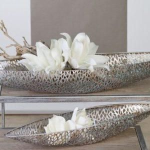 Casablanca – Schale/Dekoschale – Purley – Metall – Antik-Silber – 60 x 16 x 7 cm