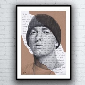 Eminem Portrait Drawing – Giclée art print with Lose Yourself Lyrics Background – Kunstdruck A5 A4 A3 Sizes limited edition slim shady 8 mile