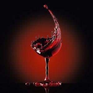 Eurographics Red Wine Glass Glasbild, Glas, Rot, 30 x 30 x 2 cm