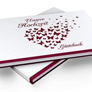 Gästebuch Hochzeit – Hardcover, ohne Fragen, A4 quer, Butterfly Heart
