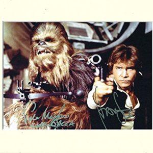 HARRISON FORD & PETER MAYHEW ––Han Solo & Chewbacca Star Wars Signed Autograph Print in 10x 8, cremefarbenem Passepartout