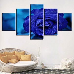 HD Druckt Bilder Wandkunst 5 Stück Blaue Rosen Blumen modulare Gemälde Leinwand Kunstwerke Moderne Rahmen Dekor für…