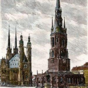 Handkolorierte original Radierung Halle, Markt von Zwicker als loses Blatt, Graphik, kein Kunstdruck, kein Leinwandbild