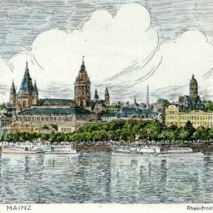 Handkolorierte original Radierung Mainz, Rheinansicht von Peters als loses Blatt, Graphik, kein Kunstdruck, kein Leinwandbild