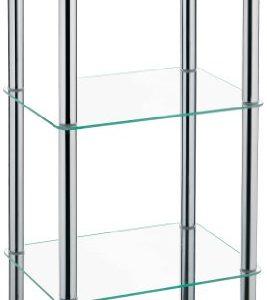 kela 18050 Eckregal OLE Metall/Glas 3 Etagen