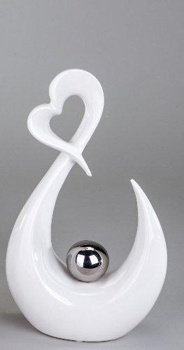 Keramikskulptur Herz mit Kugel H27cm Weiß/Silber