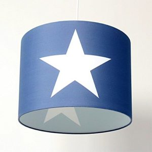 Kinder Hängelampe Hängeleuchte a.d. ROOMSTAR®-Kollektion, blau mit großem Stern weiss, Diameter 35cm