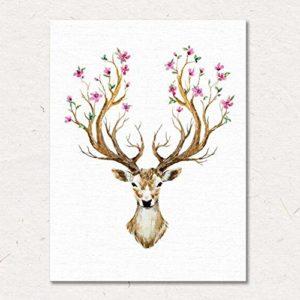 MINRAN DECOR A Premium Kunstdruck Wand-Bild – elk CP211 – Leinwand-Druck – Leinwand-Bilder auf Holz-Keilrahmen als moderne Wanddekoration