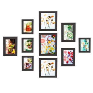 MVPower Bilderrahmen 10er Set Fotorahmen mit Bildabdeckung aus Glas Foto Collage von 4 STK. 10 * 15cm, 3 STK. 13 * 18cm, 2 STK.20 * 20cm, 1 STK. 20 * 25cm, Poster hausdeko (Schwarz)