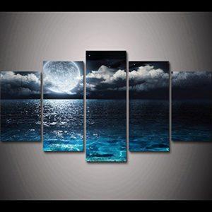 PAINTING Gerahmte HD Drucken 5 Stück Mond und ocea seascape Leinwand Gemälde Home Decor abstrakt Leinwand Wand Kunst…