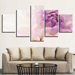 PAINTING Gerahmte HD druckt Poster Home Decor für Wohnzimmer 5 Stück wunderschöne weiße Lila Blumen Leinwand Gemälde an…