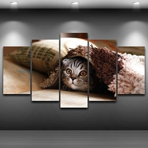 PAINTING Gerahmte Leinwand Bilder für Wohnzimmer Wand Kunst 5 Stück Pet Cat Face Gemälde Home Decor HD druckt Tier…