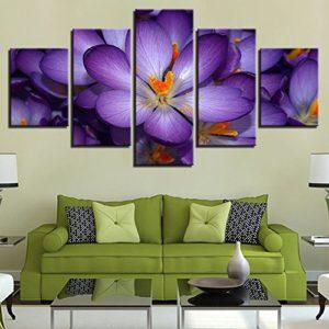 PAINTING Gerahmte Leinwand Home Decor HD druckt Bilder Wall Art 5 Stück Schöne lila Blumen Gemälde für die Wohnzimmer…