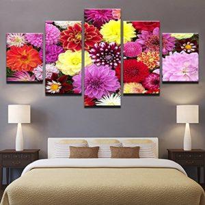 PAINTING Gerahmte Leinwand Wand Kunst Poster Startseite Einrichtung Wohnzimmer Frame 5 Stück bunte Blumen Bloom Bilder HD druckt Dahlia Pinnata Gemälde, Klein
