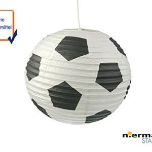 Papierlampe fürs Kinderzimmer – Lampenschirm mit FUSSBALL Motiv – Pendelleuchte mit Aufhängung