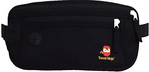 Premium Bauchtasche Gürteltasche Hüfttasche – Schütze Deine Wertsachen – Extra flach für Damen Herren Kinder/Travel Ninja Reise-Bauchtasche im Urlaub – Schwarz
