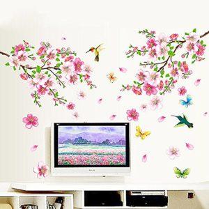 Qianxing abnehmbares wiederverwandbares schöne Baum Blume Blätter und Vögeln Serie Wandbild mehrfarbiges Wallsticker Wandtattoo Aufkleber für Sofa und Fernsehen im Wohnzimmer Deko Wandpapier(Blumen und Vogel)(110*120)