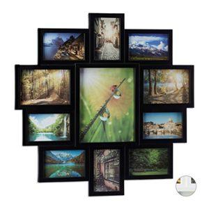 Relaxdays Bilderrahmen Collage, Bildergalerie für 11 Fotos, Fotorahmen zum Aufhängen, mehrere Fotos, verschiedene Farben