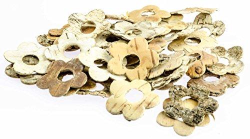 SIDCO 80 Stück Dekoblüten Streudeko aus Birke Blüte Holz Dekostreu Tischdeko Bastelbedarf