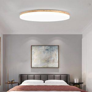 SJUN Deckenleuchte Holz Wohnzimmer Lampe Rund Flach Wohnzimmerlampe Holzlampe Eiche Deckenlampe Schlafzimmer Vintage Leuchte Decken Licht Mit Led Zimmerlampe
