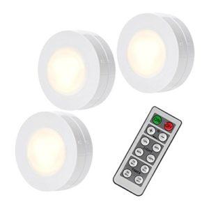 Schrankbeleuchtung LED batterie-betrieben Unterbauleuchte Schankleuchte Nachtlicht touch warmweiß mit Fernbedienung dimmbar für Garderobe, Küche, Vitrinenbeleuchtung mit Klebepads stabil im SafePack