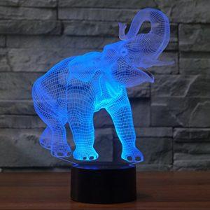 Tiere Elefant 3D Optische Täuschung Lampe, USB-Stromversorgung 7 Farben Blinken Berührungsschalter Schreibtisch LED…