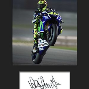 Valentino Rossi, Nr. 3, Signiertes und gerahmtes Foto, A5-Druck