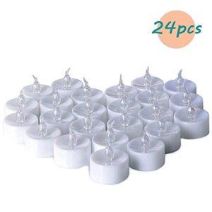 Teelichter batterie Flameless Kerzen inkl. Batterien CR2032, flammenlose LED Teelichter flackernd Kerzen mit Flackereffekt Warmweiß