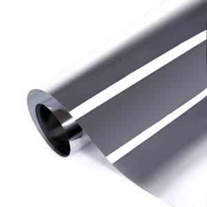 fancy-fix Sonnenschutzfolie Selbstklebend Sichtschutz Blickdicht Wärmeisolierung(95% UV-Schutz) Fensterfolie, Spiegelfolie 76cm x 300cm Silber[Energieklasse A+++]