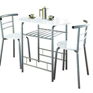 0075, Küchenmöbelset mit Esstisch und 2 Stühlen, Metallrahmen, weiß-hochglänzend lackiert