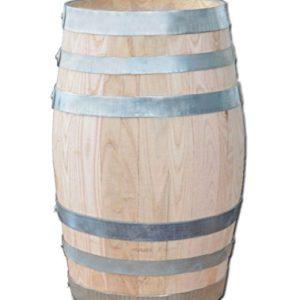 150 Liter Holzfass, neues Fass, Weinfass aus Kastanienholz geschlossen als Stehtisch, Bistrotisch (Fass geölt)