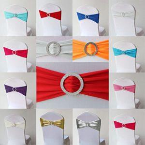 10x Stretch Stuhlschleife mit Brosche Schleifenbänder für Stuhlhussen in diversen Farben