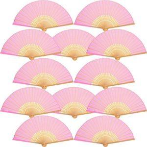 12 Packung Handfächer Silk Bambus Faltfächer Handheld Gefaltet Fan für Kirche Hochzeitsgeschenk, Party Favors, DIY Dekoration