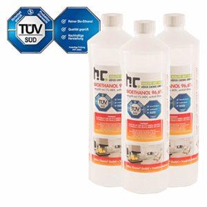 15 x 1 L Bio Ethanol Premium 96,6% für Kamin – versandkostenfrei – 1 L Flaschen für den sicheren Gebrauch zuhause – TÜV SÜD zertifiziert