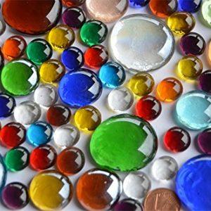 Bazare Masud e.K. 290 Gramm Bunte Glasnuggets in 3 versch. Größen ca. 1-3 cm transparent teilweise irisierend…