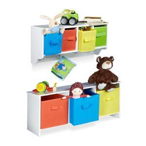 Relaxdays 2 teiliges Kinderzimmer Aufbewahrungsset, Kindersitzbank mit Stauraum, Wandregal Wandgarderobe, weiß mit…