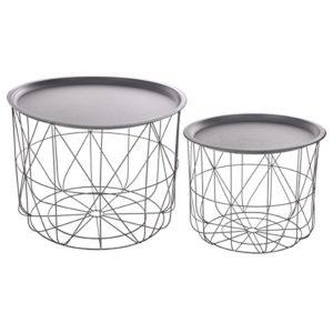 2-teiliges Set: ineinander passende Kaffeetische mit abnehmbarer Platte – modernes Design – Farbe GRAU