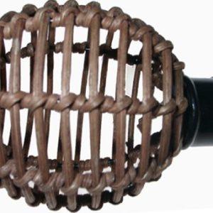 """2 x Endstück """"Rattankugel"""", für Gardinenstangen 16 mm Durchmesser, schwarz / braun"""