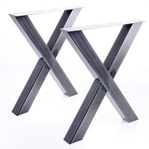 Bentatec 2 x Tischgestell in X Form im Stahl Design