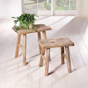 """2 Holz-Hocker""""Rustikal"""" im Antik Stil, Blumenständer, Blumenhocker, Gartendeko, Sitzhocker, Fußhocker"""