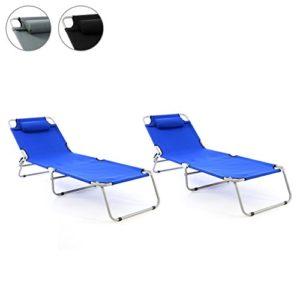 Nexos 2er Set Gartenliege Camping Liege 190x63x28 cm mit Kopfkissen Sonnenliege klappbar 4fach verstellbar Stahlrohrrahmen grau Dreibeinliege wetterfest robust stabil Farbe wählbar schwarz grau blau