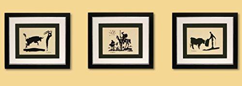 3 Kunstdrucke Bilder Pablo Picasso Bullfighter / Picador / Don Quixot signiert mit Rahmen 51 x 44 cm PREIS-HIT