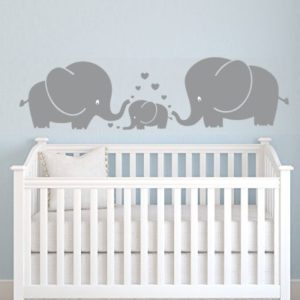 Wandaufkleber 3süße Elefanten, Eltern und Kind/Familie, mit Herzen, Wandsticker, für Baby, Kinderzimmer, grau, grau, S
