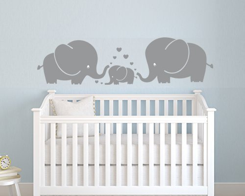 3 s e elefanten eltern und kind familie wand aufkleber mit herzen wandsticker baby f r. Black Bedroom Furniture Sets. Home Design Ideas