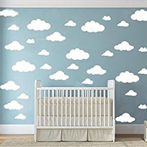 31 stücke Große Wolken Vinyl Wandtattoos DIY Wandaufkleber Entfernbare Wandkunst Aufkleber für Wohnzimmer Kinderzimmer (Weiß)